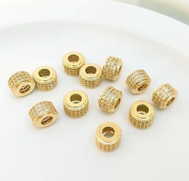 2pcs-9mmX6mm big hole 3mm gold plated brass Cubic Zirconia tube beads,tube stopper tube spacer beads