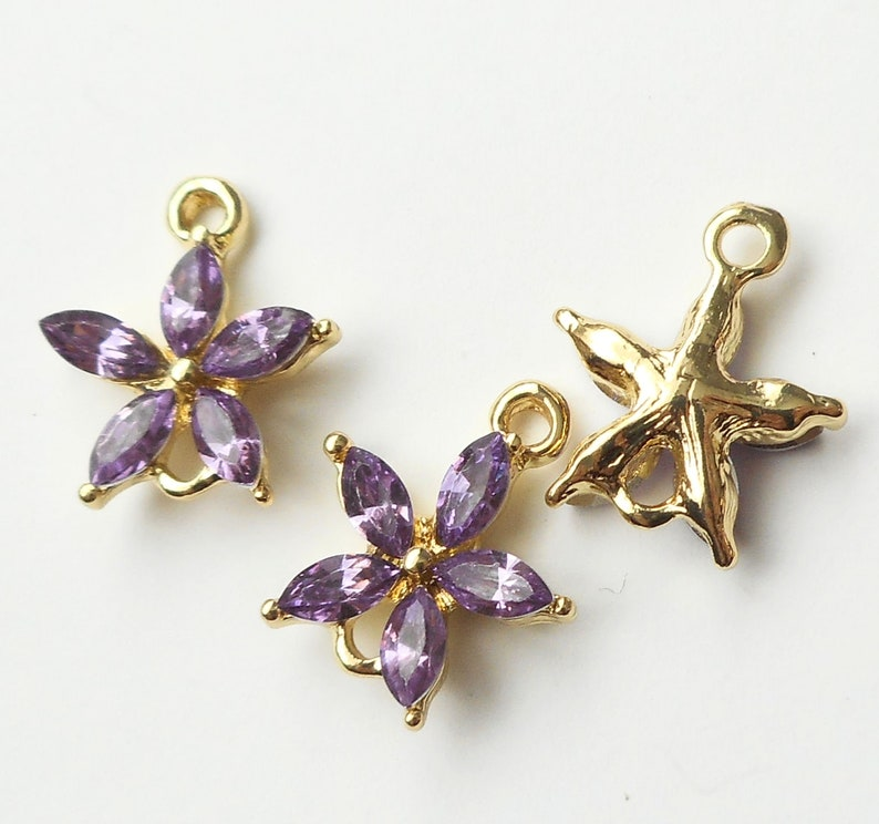 gold tone white Rhinestone flower connector earring connecto-more colors 4pcs-2 loop