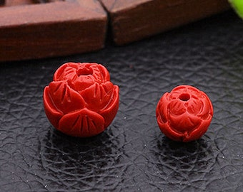 10pcs-Carved Lotus flower spacer beads,  Red Cinnabar  round beads