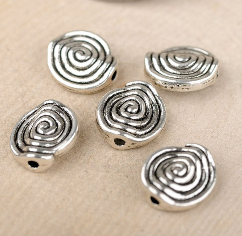 8pcs-2 side silver tone spiraling beads,spacer beads stopper beads-bronze tone available