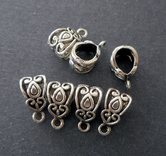 pendant holder,charm bail 8pcs--antique Silver bails pendant connector