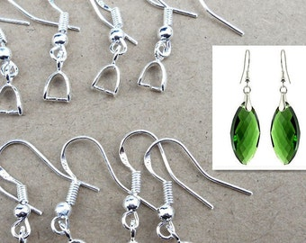 20pcs, 10pairs-silver Ear wire, Earring Hooks with Pinch Bail-bronze, rose gold available
