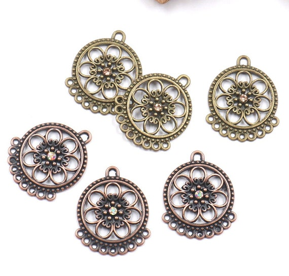 "earring connector 4pcs,2 pairs-2 loop charm-1.5/"" bohemian earring charm"