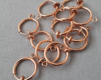 6pcs, 3 paris-Rose gold Spring Clip Earring Finding, rose gold  Hoop Clip Earring Component with Loop Non Pierced Earring Supply