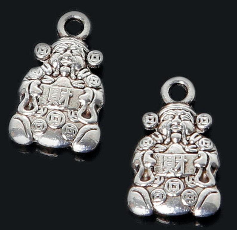 Old Chinese tibet Silver Mammon Money Wealth God thanka amulet Pendant