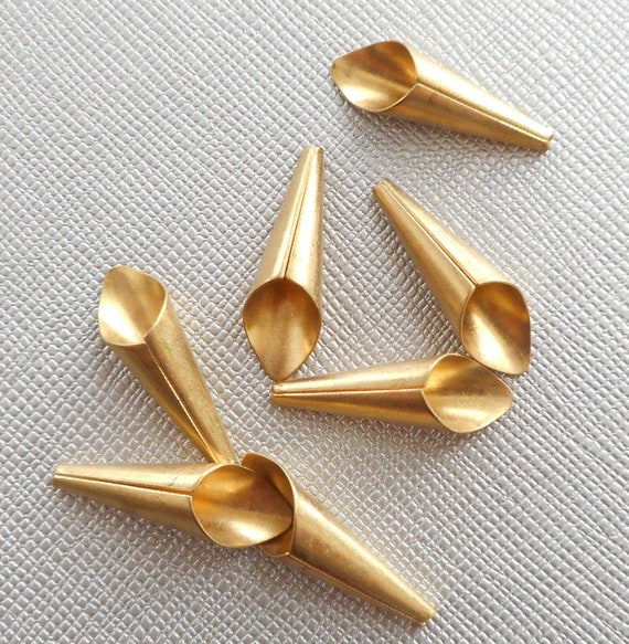 6pcs-32mmX8mm brass long cone end caps,bronze tone long cone tassel caps earring caps-red copper available
