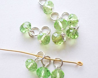 20pcs-Hand wrapped-1 loop faceted  Spring green CZ glass beads with jump ring