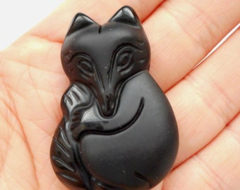 Fox pendant-carved black Onyx gemstone Pendant (frosted and polished)