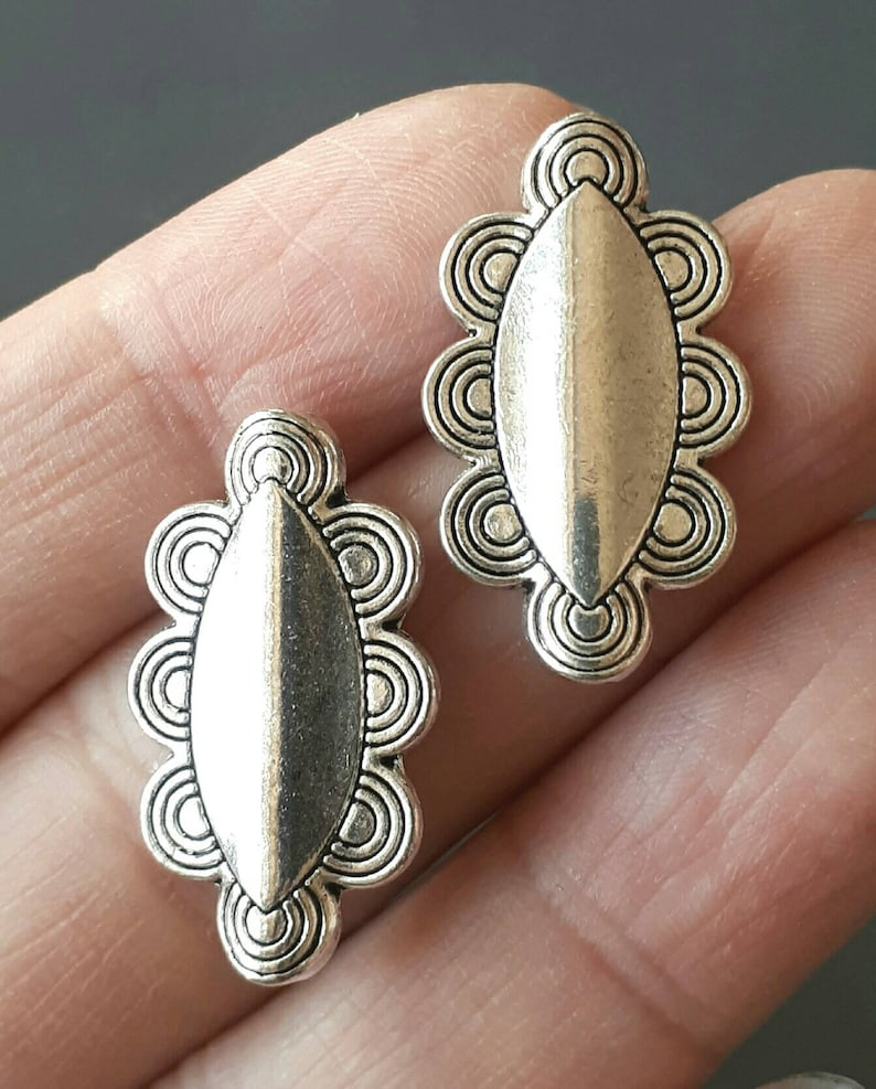 4pcs-22mmX14mm silver oval space beads