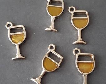 6pcs yellow  enamel wine glass charms