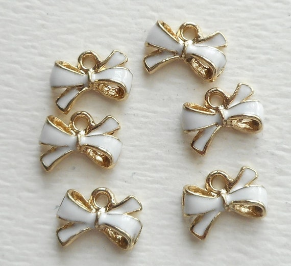 10pcs-1 loop Pink flower bow charm-enamel Pink bow Charm-more colors