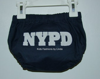 Navy Diaper Cover with NYPD in white