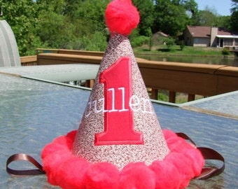 Personalized Sock Monkey Red Pom Pom Birthday Hat