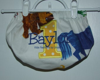 Brown Bear Brown Bear Print with Number/Name on Back  Diaper Cover