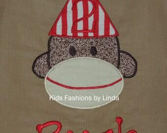 Birthday  Personalized Sock Monkey Red Corduroy Longall