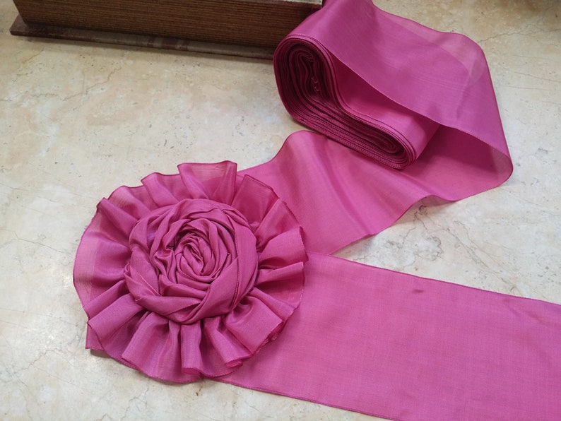 Vintage Pink Moire Ribbon Rayon Nice Quality French