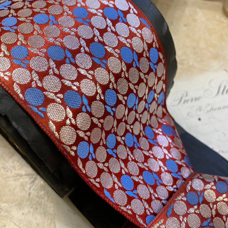 polka dots 3\u201d Vintage French Satin Ribbon with METAL /& Rayon embroidery Ribbon historical reenactment costume theater millinery silver