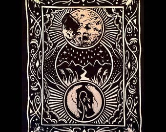 Man In the Moon Tarot Card Back Patch