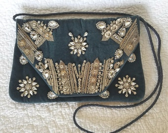 d572f37bb9 Blue Velvet Purse   Handbag   Rhinestone Handbag   Bling Purse