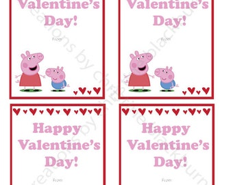 Peppa Pig And George Printable Valentineu0027s Day Cards   INSTANT DOWNLOAD