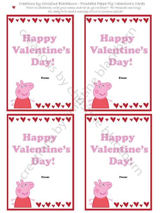 Peppa Pig Printable Valentineu0027s Day Cards INSTANT