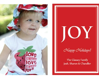 JOY in Red Holiday Photo Card or Your Color Choice