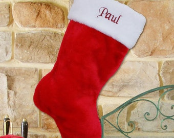 embroidered classic red stocking personalized stocking embroidered stocking personalized christmas xmas christmas decor gfys34619 - Embroidered Christmas Stockings