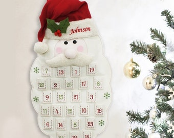 Embroidered Santa Advent Calendar, christmas, christmas decor, indoor, hanging calendar, personalized, personalized advent -gfyE973591