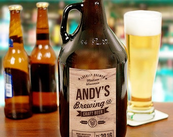 Personalized Craft Beer Brewing Co. Growler, personalized beer gift, beer growler, craft beer, beer, gifts for him, dad gift -gfyL1036879
