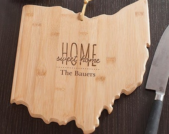 Personalized Home Sweet Home Ohio State Cutting Board, carving board, engraved, kitchen decor, family name, personalized -gfyL10626165OH
