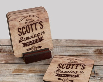 Personalized Brewing Company Coaster Set of 4, craft beer, for dad, him, beer gifts -gfy6103689CS