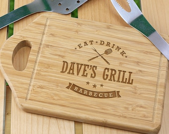 Personalized Eat, Drink, Barbecue Cutting Board, for the grill, BBQ, dad, him, barbecue, cutting board, wood, engraved -gfyL1036330-utensil