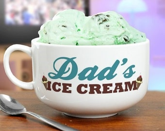 Personalized Ice Cream Bowl, ceramic bowl, personalized, gift, white, bowl with handle, kitchen, dishware, for kids, for adults  -gfyU429623