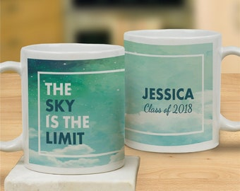 Personalized Sky Is The Limit Mug, Graduation, Grad Gifts, Spring, Celebration, Congratulations, Education, University -gfy2125930