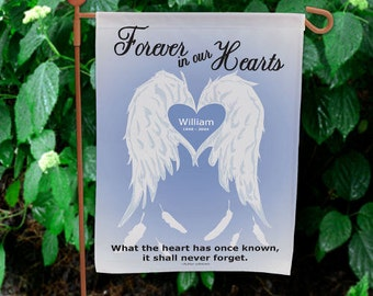 Personalized Forever In Our Hearts Garden Flag  -gfy83059012