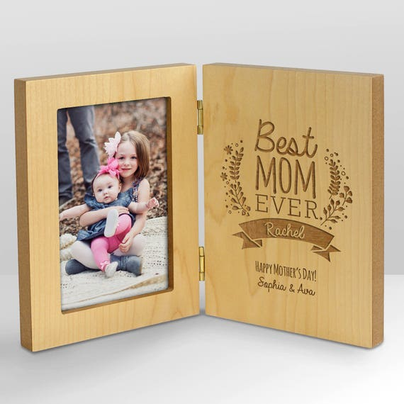 Items Similar To Engraved Best Mom Hinged Frame Gift For