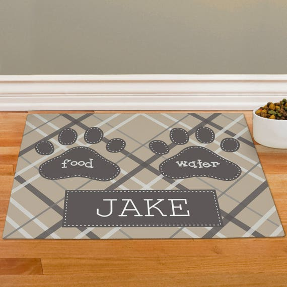 Plaid Personalized Pet Food Mat Dog Mat Dog Placemat Dog Etsy