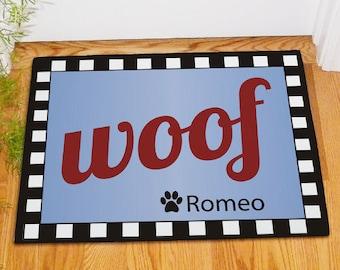 Woof Personalized Dog Doormat, dog mat, pet mat, food bowl mat, custom, dog decor, dog placemat, paw printed, floor mat  -gfy83166527S
