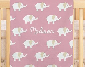 Personalized Baby Elephant Fleece Blanket  -gfyU960151