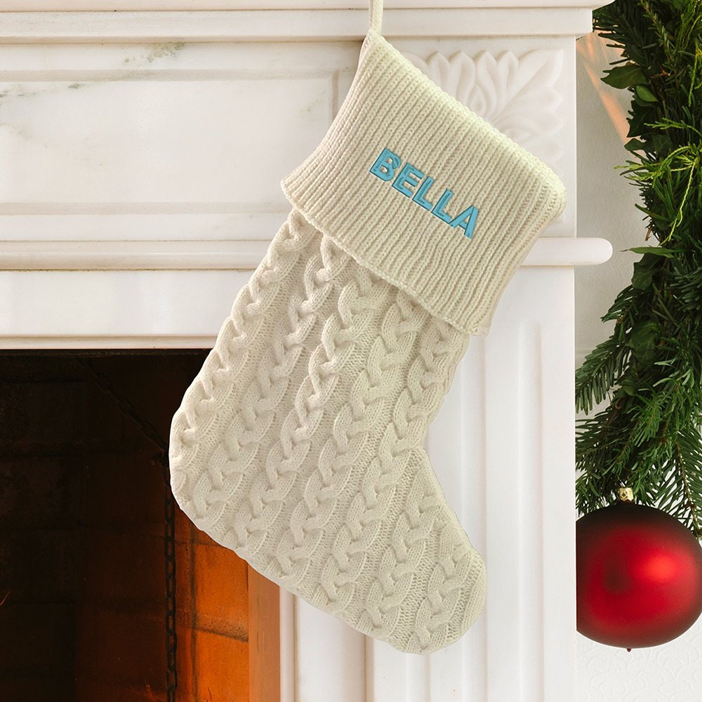 29e6f45a7 Let It Snow Embroidered Cable Knit Stocking Personalized