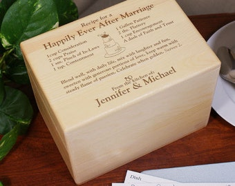 Engraved Happily Ever After Recipe Box, personalized wedding gift, wedding recipe box, wedding gifts for couple, wood recipe box -gfy8526843
