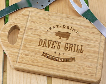 Personalized Eat, Drink, Barbecue Cutting Board, for the grill, BBQ, dad, him, barbecue, cutting board, wood, engraved -gfyL1036330-pig