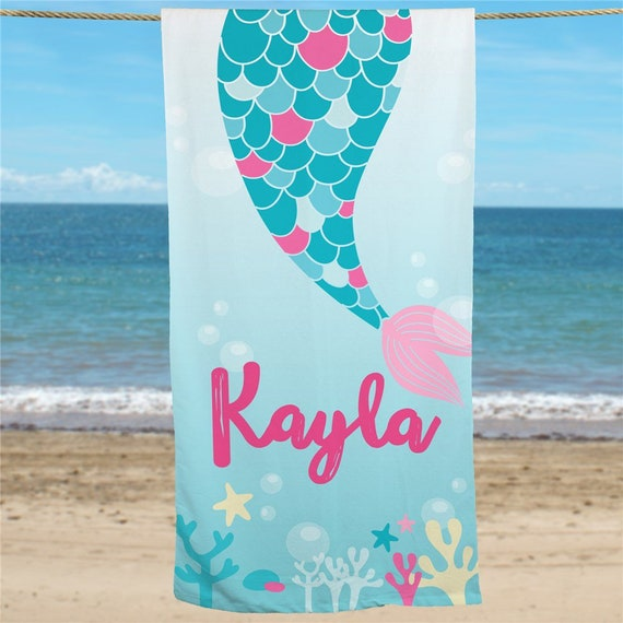 ade3409bf8b Personalized Mermaid Tail Beach Towel personalized mermaid | Etsy