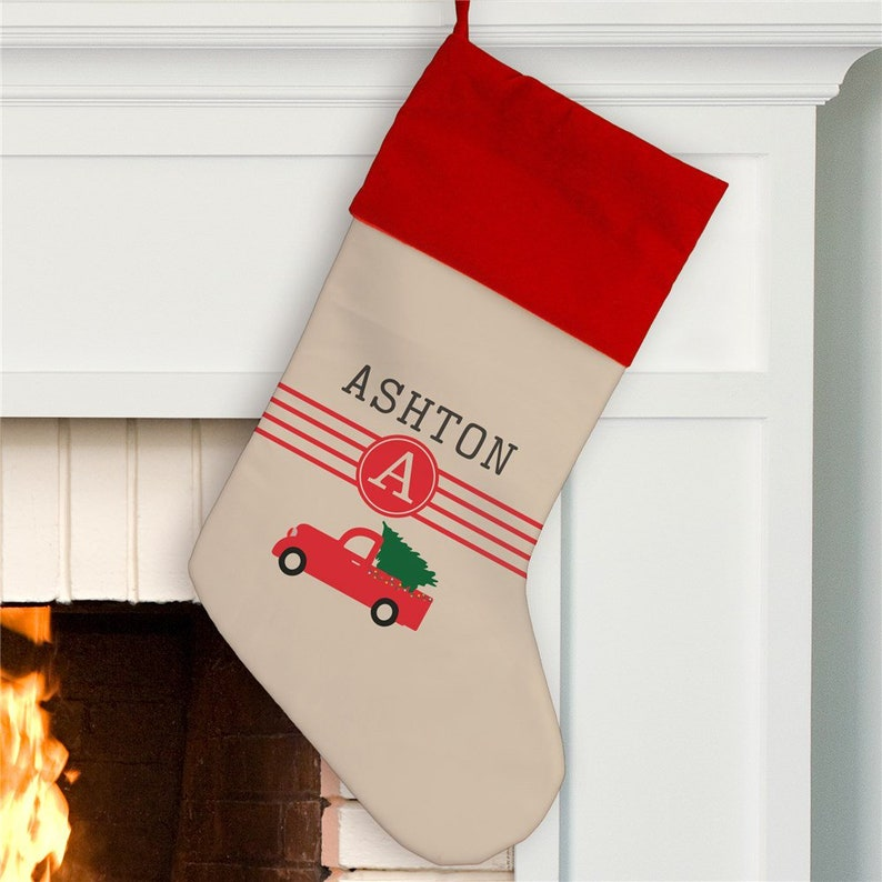 Red Christmas Truck Personalized Stocking Christmas Stocking Personalized Stocking Christmas Decorations Kids Stocking Gfyu1364784