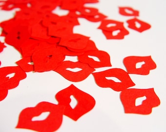 Pucker Lips Confetti - Choose your Color/s and Images. 50 or 100 pcs. (PucLip158)
