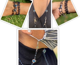 Cross Beaded Face Mask Lanyard Chain.Protection Pearl Crystal Rosary Mask Chain.Evil Eye Mask Holder.21 convertible Religious mask necklace
