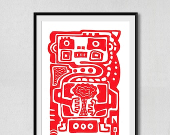 Robot and Nature Linoprint Red (210×297mm)