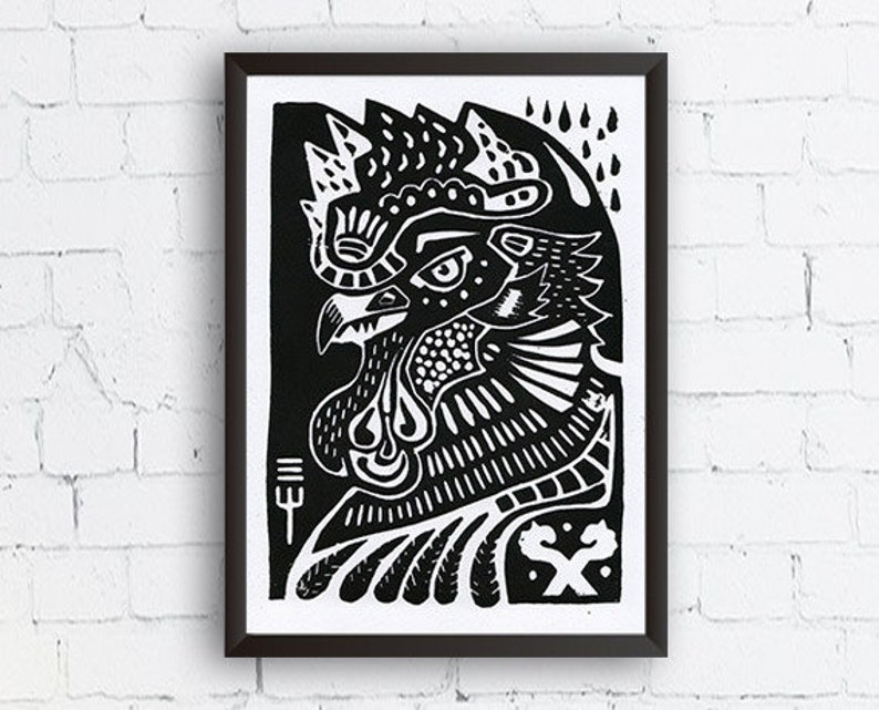 Rooster Linocut Black 148 x 210m image 0