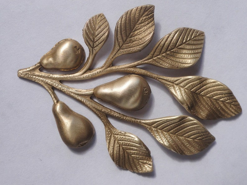 Brass Pear Tree Branch Stamping 1 pair