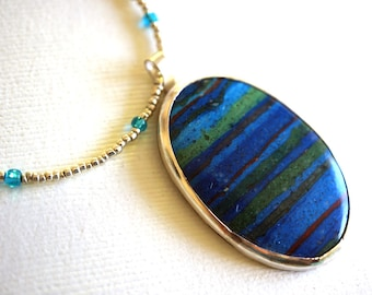 Calsilica Pendant Silver and Blue Beaded Necklace